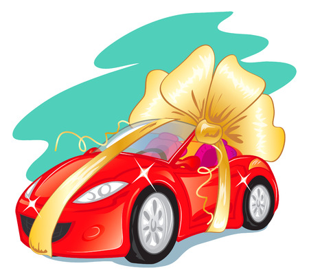 red sports car: Beautiful red sports car packaged as gift, EPS10