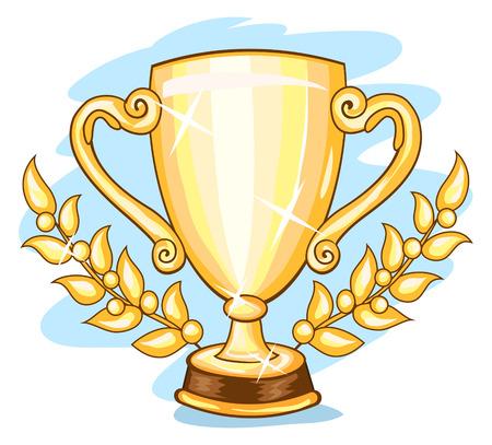 trophies: Brilliant golden championship trophy and gold laurel branches Illustration