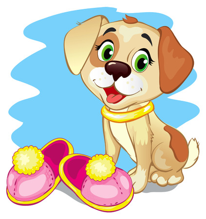guests: Cute cartoon puppy brought soft slippers and welcomes guests Illustration