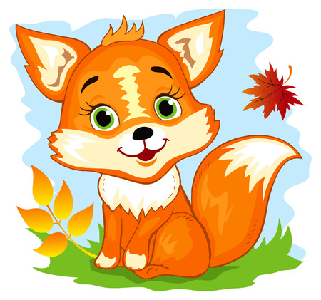Leuke cartoon fox zitten in de herfst bos