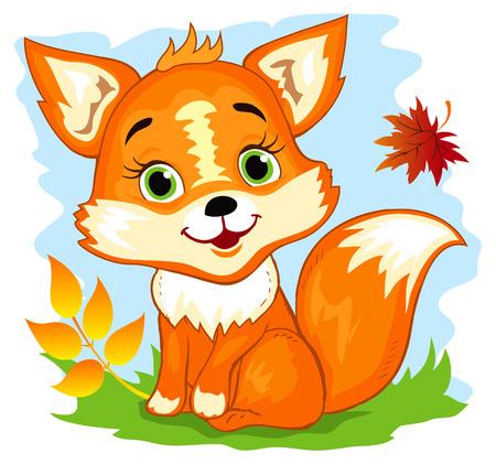 Cute cartoon fox sitting in the autumn forest