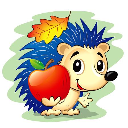 manzana: Ilustración del vector del erizo lindo de dibujos animados con una manzana roja