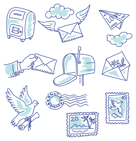 mail delivery: Set of vector elements on the theme of mail delivery