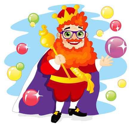 scepter: Funny extravagant red-bearded king with a magical scepter Illustration