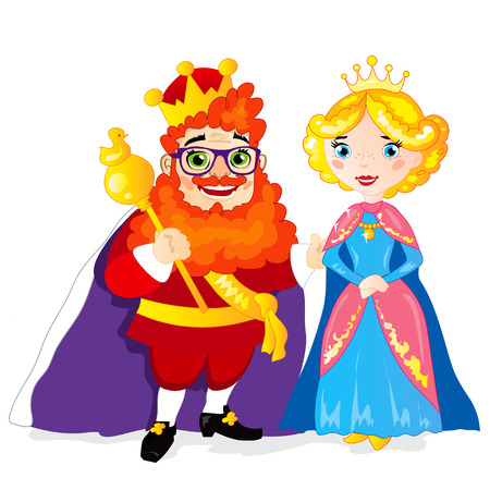 drawing cartoon: Funny extravagant red-bearded King and Her Majesty the Queen