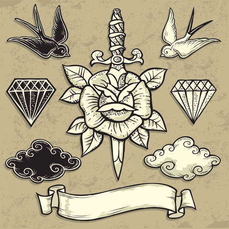 skull tattoo: Old School Rose and Dagger vector illustration Illustration