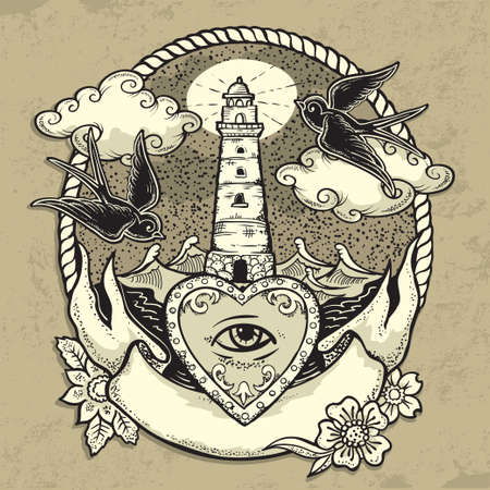Vector Illustration of Traditional tattoo design - Lighthouse