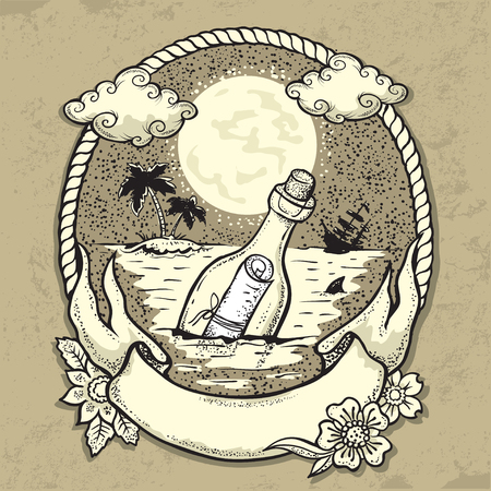 vector illustration of Bottle with mesagein the Ocean Illustration