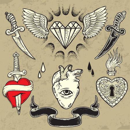 coeur en diamant: Définir des éléments en forme de coeur de tatouage vecteur Illustration