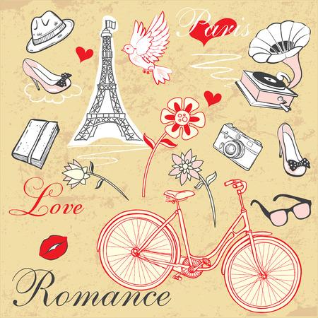 romance: 사랑과 로맨스 테마 요소의 벡터 집합