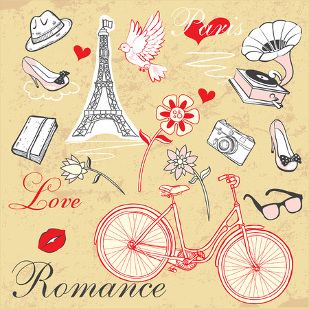 romance: vector set of elements of Love and Romance theme
