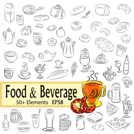 Vector Sketch Setof  Foods and Drinks,