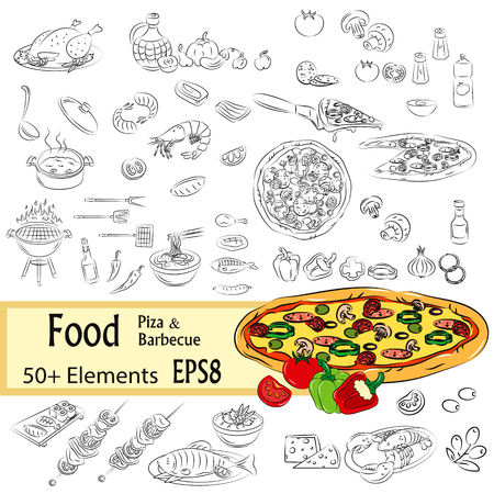 salty: Vector Sketch Set of Pizza and Fastfood, EPS8 Illustration