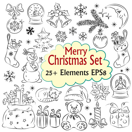 ny: Beautiful Christmas and NY Vector Sketch Collection Illustration