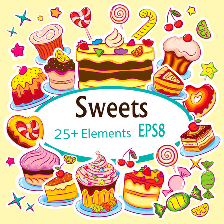 Beautiful Set of Vector Sticker Holiday Sweets Illustration