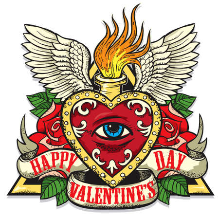 tattoo art: Vector tattoo art on the theme of Valentines Day. Tattoo-art design.Wings, roses and skull. Eye of Providence. Hand drawn vector images. Good for printing on t shirt. Easy to edit.Tattoo font.