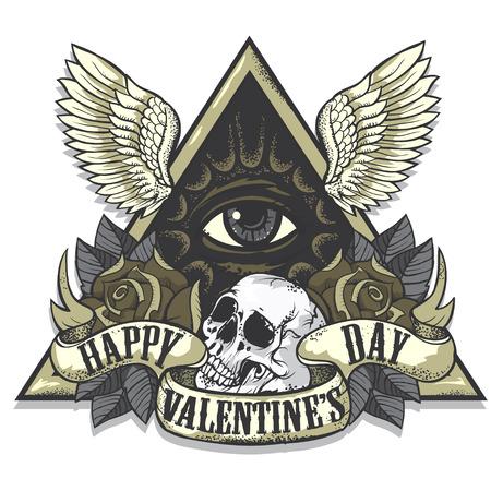 tatouage: Vector art du tatouage sur le th�me de la Saint Valentin. Design.Wings Tattoo-art, des roses et le cr�ne. Eye of Providence. Tir� par la main des images vectorielles. Bon pour l'impression sur t-shirt. Facile � edit.Tattoo police. Illustration