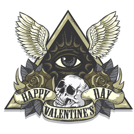 easy: Vector tattoo art on the theme of Valentines Day. Tattoo-art design.Wings, roses and skull. Eye of Providence. Hand drawn vector images. Good for printing on t shirt. Easy to edit.Tattoo font.