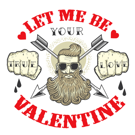 beard man: Cool vector card on the theme of Valentines Day. Tattoo art design. New traditional tattoo style. Hand-drawn vector images. Good for printing on t-shirt. Easy to edit. Tattoo font. Illustration