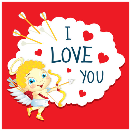 Cartoon Greeting Card Valentines Day. Image of funny Cupid on a cloud.