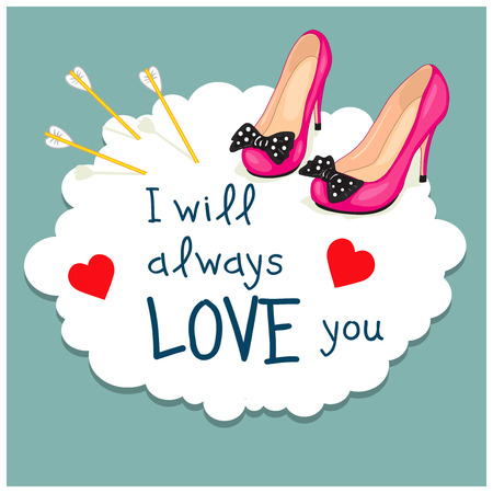 love image: Cartoon Greeting Card Valentines Day. Image of elegant female shoes on a cloud and arrows of Cupid. Text Love in the frame.