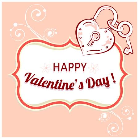 Vektor-Hintergrund Mit Glückwünsche Zum Valentinstag. Text Im Rahmen ...