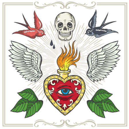 style geometric: Tattoo-art design.Wings,Hourglass, Skull Eye of Providence. Hand-drawn vector images. Good for printing on t-shirt. Easy to edit. Illustration