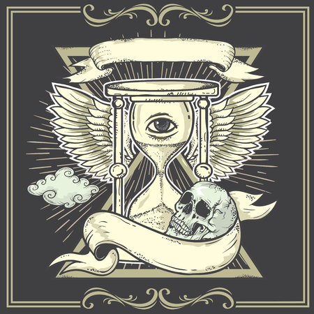 patience: Tattoo-art design.Wings,Hourglass, Skull Eye of Providence. Hand-drawn vector images. Good for printing on t-shirt. Easy to edit. Illustration