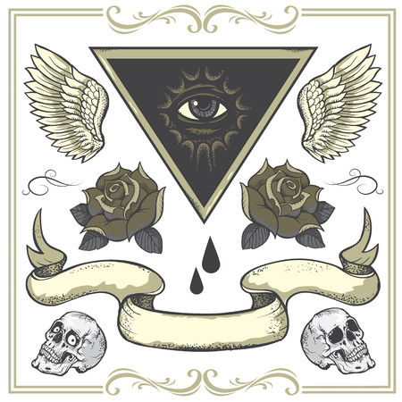 eye of providence: Set of vector Tattoo-art design elements.Wings, roses and skull. Eye of Providence. Hand-drawn vector images. Good for printing on t-shirt. Easy to edit. Illustration
