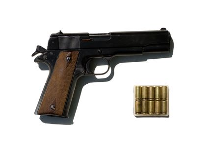 pistol of officer  in american army in second word war photo