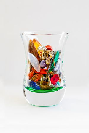 rocks in the glass. shoted in white background photo