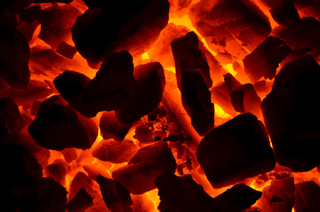 The texture of the red-hot corner is anthracite, consisting of different fractions. Stock Photo