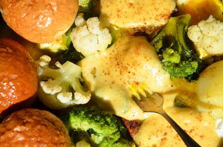 A delicious set of healthy food items in a pan. Zdjęcie Seryjne