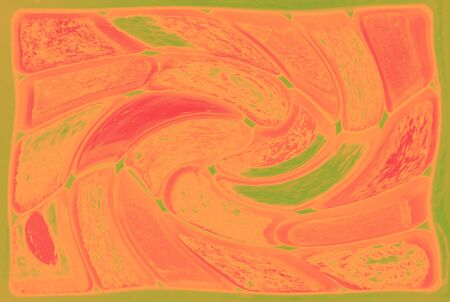 Abstract pink and green background with twisting elements.