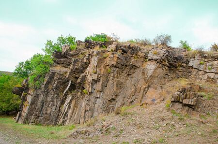 The rock massif of the Donetsk Ridge on a summer day.