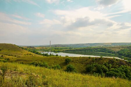 Landscape overlooking the Shterovskoye reservoir and the inactive Shterovskaya thermal power plant.