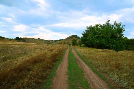 A dirt road runs over rough terrain against a cloudy sky.