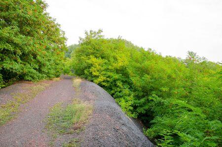 A dirt road goes along an embankment dumped from a burnt mine shaft.