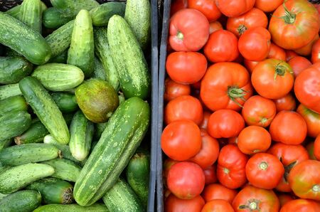 Cucumbers and tomatoes are in plastic boxes.