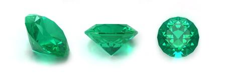 spinel: Emerald gems isolated on white background Stock Photo
