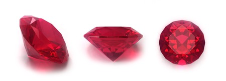 rubellite: Ruby gems isolated on white background Stock Photo