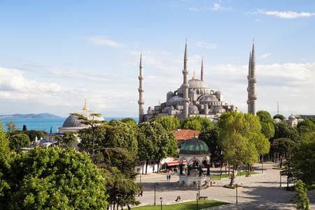 The Blue Mosque Istanbul, Turkey. Sultanahmet park. The biggest mosque in Istanbul of Sultan Ahmed (Ottoman Empire).