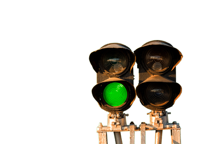 traffic controller: Traffic light shows green signal on railway isolated on white background