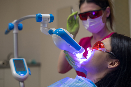 female patient at dentist in the clinic Stock Photo