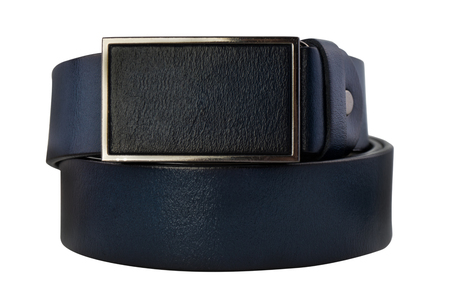 Rolled mens leather belt with metal buckle isolated on white Stock Photo