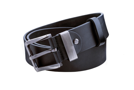 chrome man: Rolled mens leather belt with metal buckle isolated on white Stock Photo