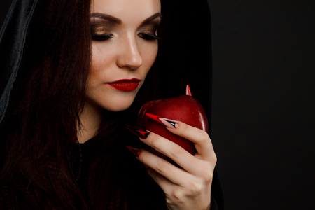 poisoned: Stepmother witch gives poisoned red apple