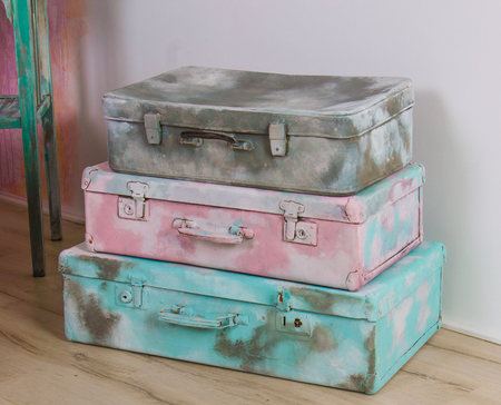 storage box: beautiful old blue, pink and gray suitcases or bags - retro style