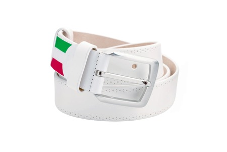 chrome man: Rolled mens leather white belt with metal buckle isolated on white Stock Photo