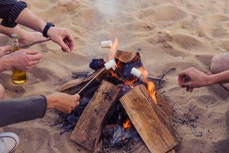 amis sur une plage sauvage montre un feu de joie et les ailes de roquette